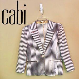EUC - CAbi - White/Navy Striped Bell Sleeve Blazer